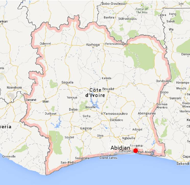 Mapa Costa de Marfil